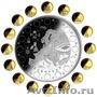 Монета Футбол Евро 2008 Серебро и золото.